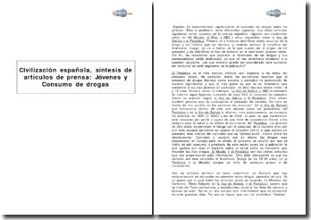 Civilización española, síntesis de artículos de prensa: Jóvenes y Consumo de drogas