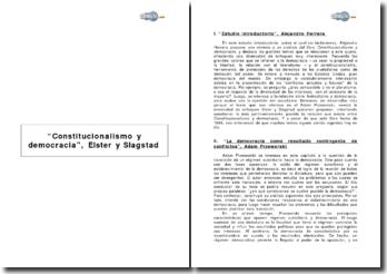 Constitucionalismo y democracia, Elster y Slagstad