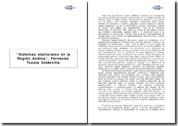 Sistemas electorales en la Región Andina, Fernando Tuesta Soldevilla