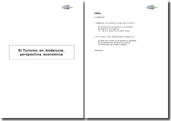 El Turismo en Andalucía, perspectiva económica