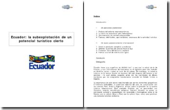 Ecuador : la subexplotación de un potencial turístico cierto