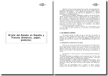 El jefe del Estado en España y Francia (estatuto, papel, poderes)