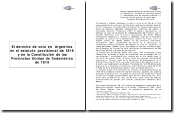 El derecho de voto en Argentina en el estatuto provisional de 1816 y en la constitución de las Provincias Unidas de Sudamérica en 1819