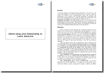 Client-ship and Citizenship in Latin America