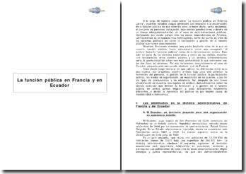 La función pública en Francia y en Ecuador