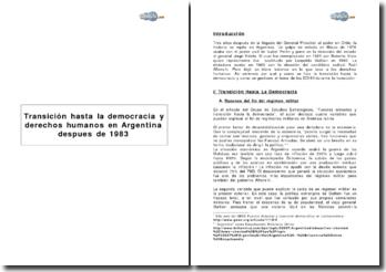 Transición hasta la democracia y derechos humanos en Argentina despues de 1983