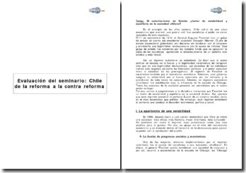 Evaluación del seminario: Chile de la reforma a la contra reforma