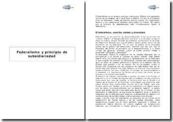 Federalismo y principio de subsidiariedad