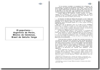 El populismo : Argentina de Perón, México de Cárdenas, Brasil de Getulio Vargas