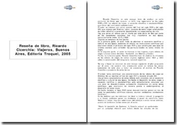 Reseña de libro, Ricardo Cicerchia: viajeros, Buenos Aires, editoria troquel, 2005