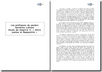 Les politiques du pardon - Entre justice et Realpolitik, chapitre II - Lefranc, Sandrine