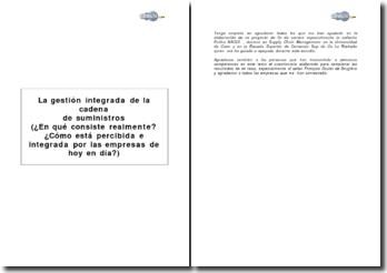 La gestion intégrée de la chaîne d'approvisionnement (En quoi consiste-t-elle réellement ? Comment est-elle perçue et intégrée par les entreprises aujourd'hui ?)