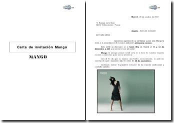 Lettre d'invitation à un défilé Mango