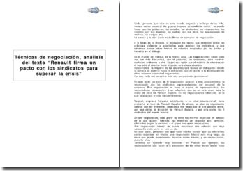 Techniques de négociation, analyse du texte : Renault signe un pacte avec les syndicats pour surmonter la crise