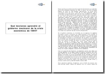 Qué lecciones aprendió el gobierno mexicano de la crisis económica de 1994?