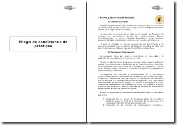 Pliego de condiciones de prácticas en el centro de promoción y desarrollo rural amazónico (Perú)