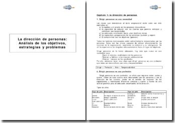 La dirección de personas : análisis de los objetivos, estrategias y problemas