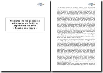 Proclama de los generales sublevados en Cádiz en septiembre de 1868 : « España con honra »