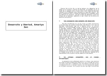 Desarrollo y libertad de Amartya Sen