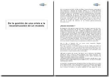 De la gestión de una crisis a la deconstrucción de un modelo : la reforma del sistema de jubilaciones en 2008 en Argentina