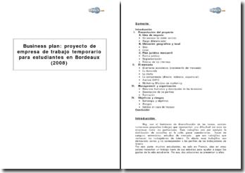 Business plan : proyecto de empresa de trabajo temporario para estudiantes en Bordeaux (2008)