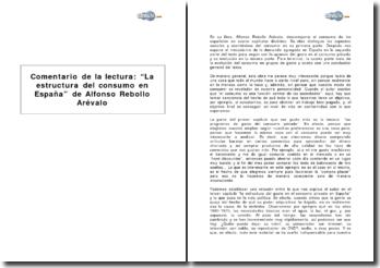 La estructura del consumo en España de Alfonso Rebollo Arévalo