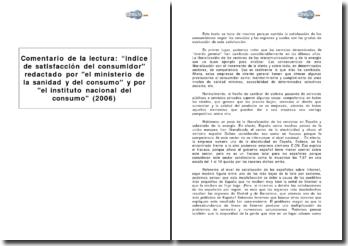 Indice de satisfacción del consumidor redactado por el ministerio de la Sanidad y del Consumo y por el Instituto Nacional del Consumo (2006)