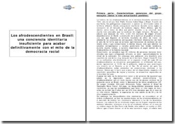 Los afrodescendientes en Brasil : una conciencia identitaria insuficiente para acabar definitivamente con el mito de la democracia racial