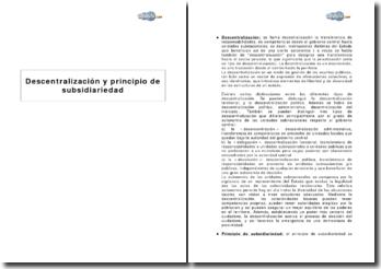 Descentralización y principio de subsidiariedad