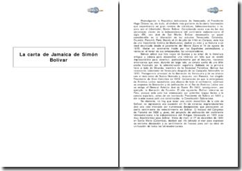 La carta de Jamaica de Simón Bolívar