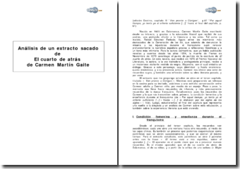 Análisis de un extracto sacado de El cuarto de atrás de Carmen Martín Gaite