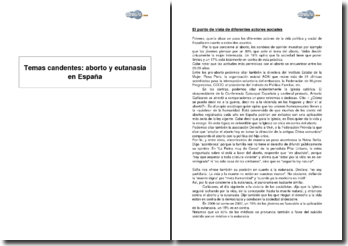 Temas candentes: aborto y eutanasia en España