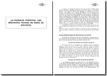La memoria histórica : Las diferentes formas de leyes de amnistía