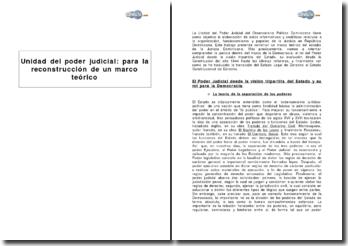 Unidad del poder judicial Dominicano : para la reconstrucción de un marco teórico