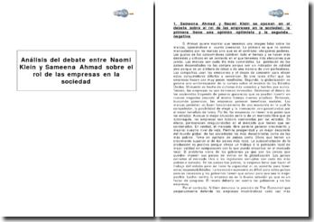 Análisis del debate entre Naomi Klein y Sameena Ahmad sobre el rol de las empresas en la sociedad