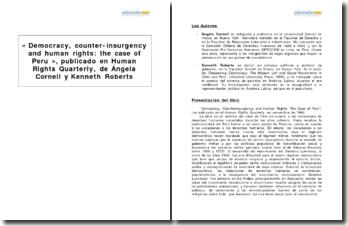 « Democracy, counter-insurgency and human rights: the case of Peru », publicado en Human Rights Quarterly, de Ángela Cornell y Kenneth Roberts