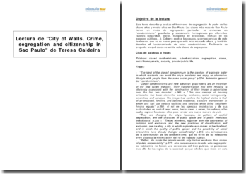 City of Walls. Crime, segregation and citizenship in Sao Paulo, Teresa Caldeira
