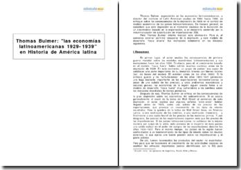 Las economías latinoamericanas 1929-1939, Thomas Bulmer