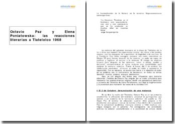 Postdata, Octavio Paz y La noche del Tlatelolco, Elena Poniatowska - las reacciones literarias a Tlatelolco 1968
