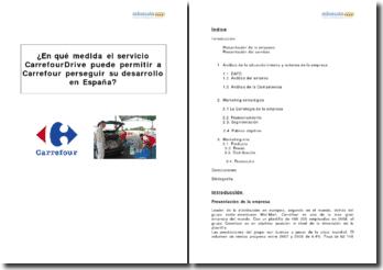Rol del servicio ''CarrefourDrive'' en el desarrollo de la empresa Carrefour en España