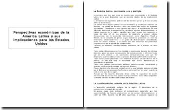 Perspectivas económicas de la América Latina y sus implicaciones para los Estados Unidos