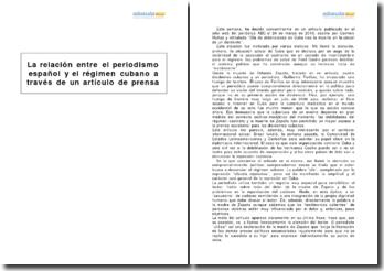 La relación entre el periodismo español y el régimen cubano a través de un artículo de prensa