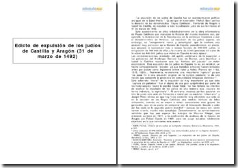 Edicto de expulsión de los judíos de Castilla y Aragón (31 de marzo de 1492)