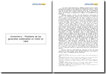 Proclama de los generales sublevados en Cádiz en 1868