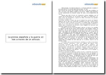 Irak olvida a Sadam en las urnas, Angeles Espinosa ((2010) - la prensa española y la guerra en Irak a través de un artículo