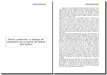 Prensa y asesinato: el ejemplo del tratamiento de la muerte de Paloma Díaz Sortero