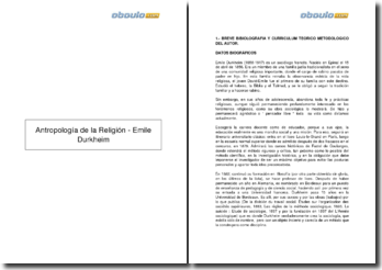 Antropología de la Religión - Emile Durkheim