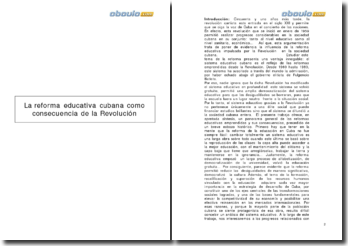 La reforma educativa cubana como consecuencia de la Revolución