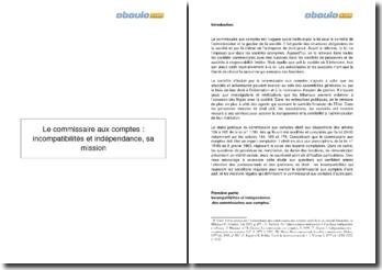 La mission du commissaire aux comptes : incompatibilités et indépendance