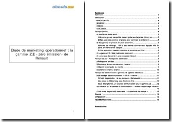 Étude de marketing opérationnel de la gamme Z.E -zéro émission- de Renault